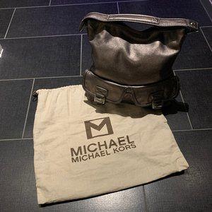 Michael Kors Gunmetal Leather Ranger Hobo Bag